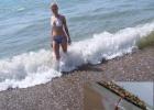 Фото туриста. Пляж.Галька и песок.