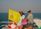 Фото туриста. на пароме, королевский флаг Таиланда